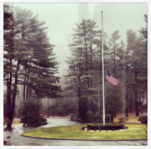 Our school flag at half mast this week