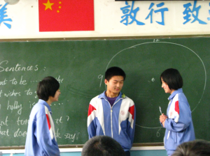 Students performing a skit in English class