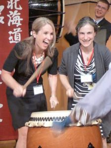 Trying out drumming