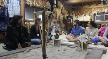 Meeting with an Ainu leader to learn about the culture