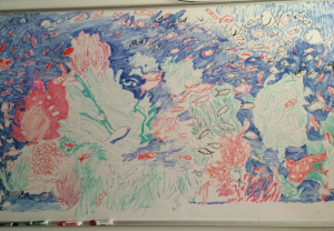 Our whiteboard turned into the ocean today!