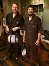 Joe and Josh are ready to enjoy the onsen (hot springs)