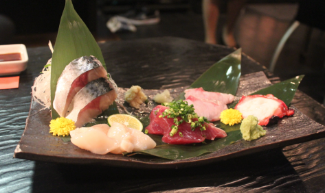 I tried all sorts of new foods, such as this sashimi.