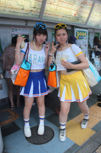 Some teenagers showing off their idol earrings in the Harajuku Neighborhood
