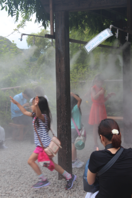 Kids at the Hasedera Temple cooling off in the mist