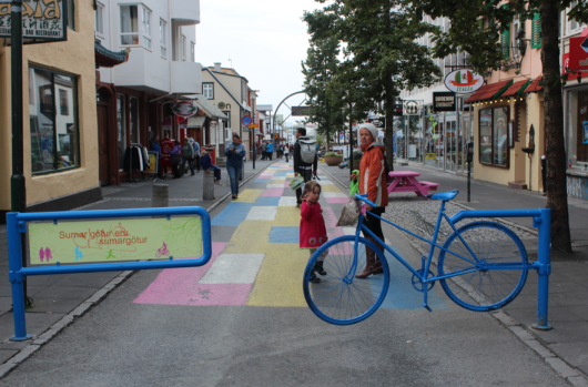 Shopping street with neat bicycle gate