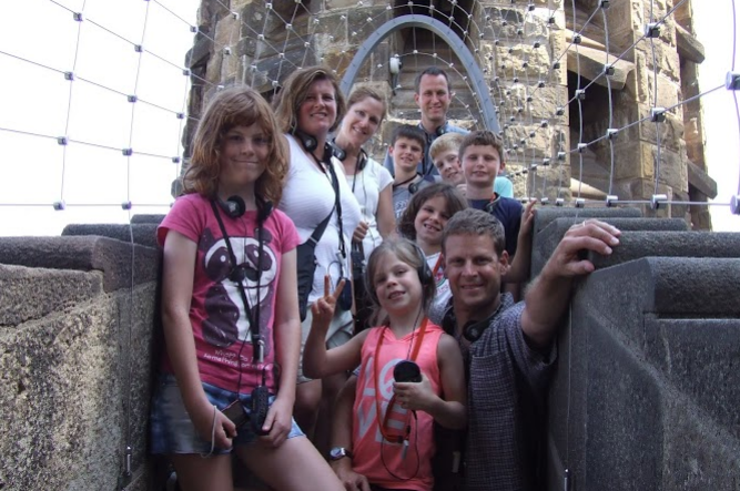 This is me and my family on a bridge connecting two of the towers. We're close to 558 feet in the air.