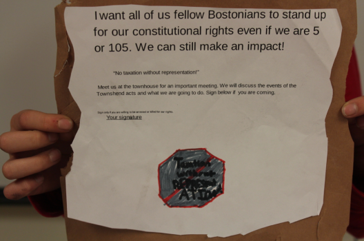 I want all of us fellow Bostonians to stand up for our Constitutional rights even if we are 5 or 105. We can still make an impact!
