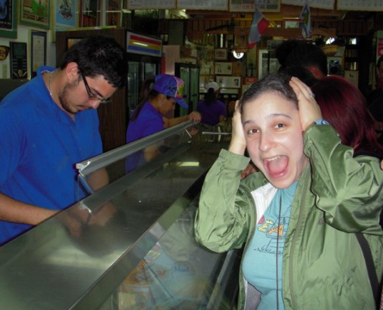 Trying to choose an ice cream flavor at a place in Lares, Puerto Rico with hundreds of flavors