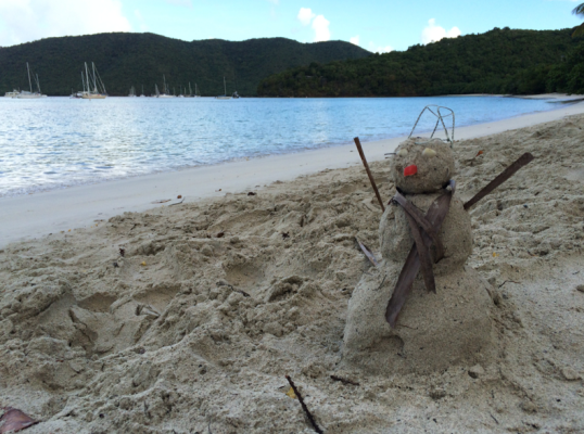 Snowman on the Beach
