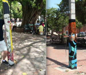 Even the street posts are painted with art!