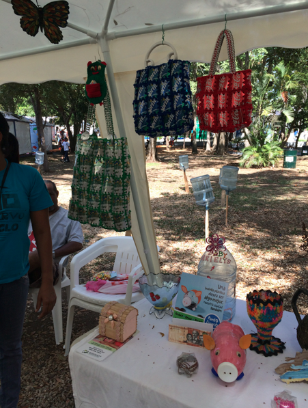 A stand of crafts made totally out of recycled materials