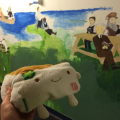 Tofu San with our Unfinished Mural