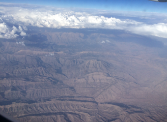 Not the UAE, but taken somewhere on the way, over Central Turkey, I believe. The UAE is flat.