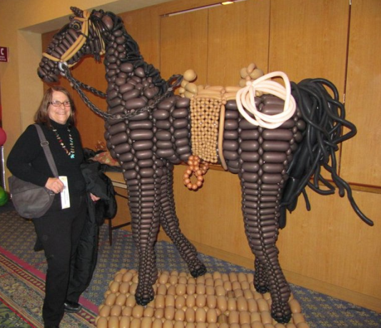 My mom visiting a balloon convention (horse by Robbie Furman)