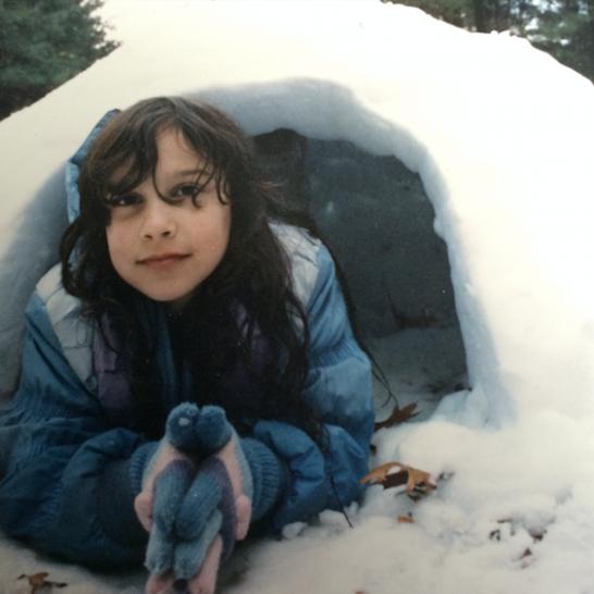 Me in an igloo he helped me build
