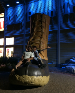 Omi and Josh on the boot
