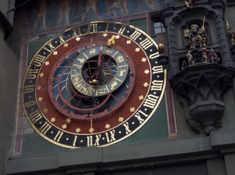 Close up on clock tower