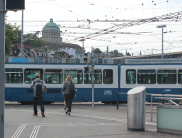 Tram in Downtown Zurich