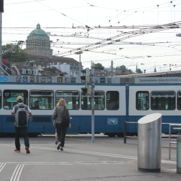 Tram in Downtown Zurich